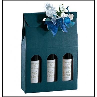 Confezione per 3 bottiglie. Modello: juta blu