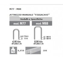 PUNTI METALLICI 77/9 PER FISSATRICE CAVI M77 -CONFEZIONE DA 1000 PUNTI.-